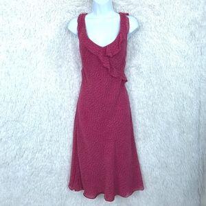 Silk Surplice Dress Pink Chiffon Ruffle Ann Taylor